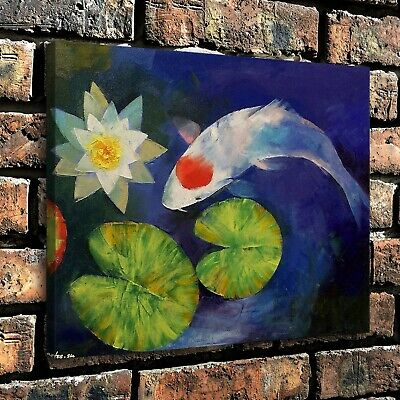 """Koi Carp and Water Lily Home Decor Room HD Canva Print Picture Wall Art  16""""x22"""""""