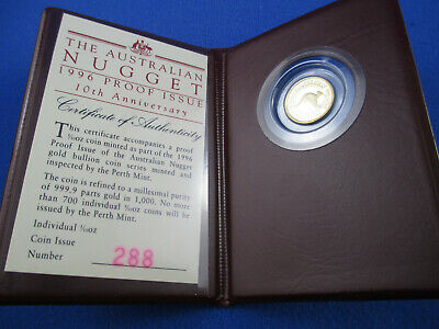 1996 $15 AUSTRALIAN NUGGET 1/10oz GOLD PROOF ISSUE COIN. A BEAUTY!!!