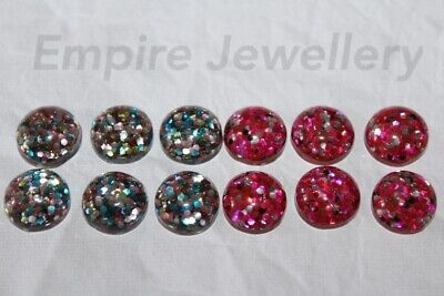 12 x Mixed Colour Confetti Glitter Resin Flatback 12x12mm Cabochon Cameo