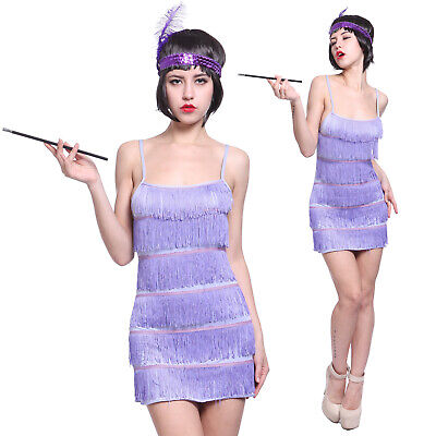 Ladies Flapper Costume Charleston 20s Gatsby Girl Fancy Dress Blue Size L