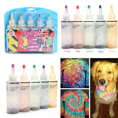 5pcs One Step Tie Dye Kit Vibrant Fabric Textile Paint Colors for children UK