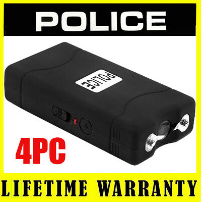 (4) POLICE BLACK 800 Mini Stun Gun Self Defense Wholesale Lot