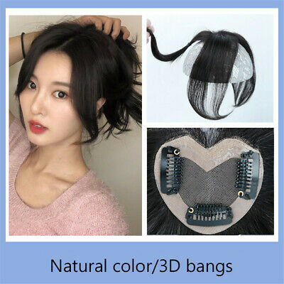 Neat Hair Fringe  Middle Part Straight 100% Human Hair Clip in Topper Hairpiece