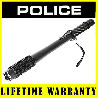 POLICE METAL Stun Gun 1119 180 BV Heavy Duty Rechargeable LED Flashlight