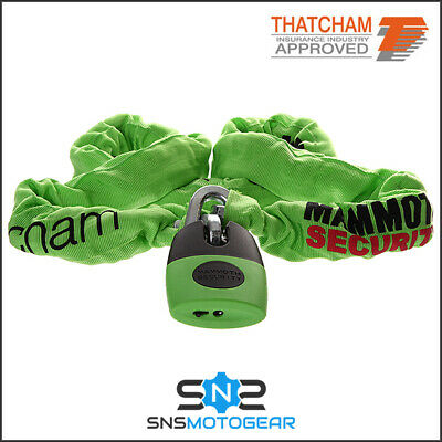 Mammoth Thatcham Approved Motorcycle Motorbike Square Chain & Lock - 12mm x 1.2m