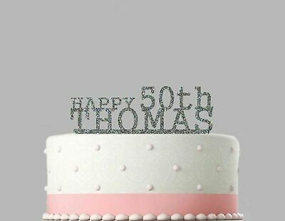 Birthday Acrylic Cake Decoration Name and Age Personalised Glitter Topper.738