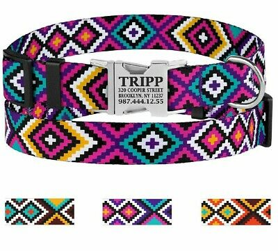 Personalized Pet Collars Nylon Dog Collar Engraved Buckle Id Name Small Large