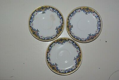 Vintage Johnson Brothers England Floral China Saucer Lot of (3) Blue and Gold