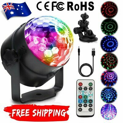 USB RGB LED remote Disco Home Party Crystal Magic Ball Strobe Effect Light Lamp