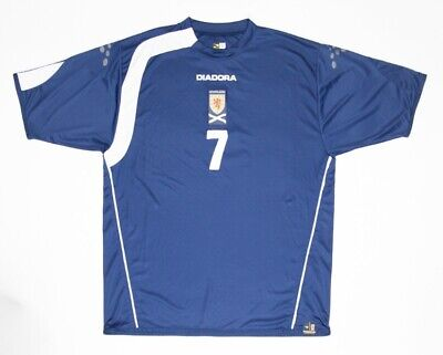 Scotland 05-06-07 Diadora Match Worn Issue Home Shirt #7 Darren Fletcher