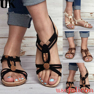 Womens Summer Beach Boho Sandals Flats Ladies Holiday Casual Elastic Strap Shoes