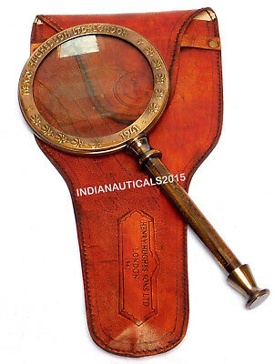 Shiny Brass Desk Magnifying Glass Paper Weight Collectibles Item For Gifted
