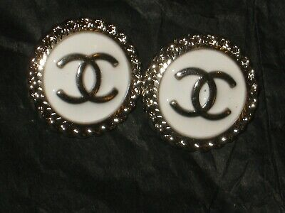CHANEL  2 AUTHENTIC white SILVER cc 14 MM BUTTONS THIS IS FOR TWO