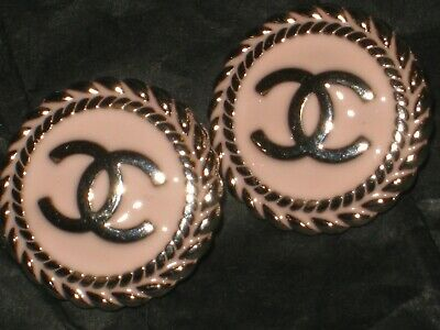 CHANEL  2 AUTHENTIC LIGHT  PINK  SILVER cc 14 MM BUTTONS THIS IS FOR TWO
