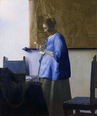 Johannes Vermeer - Woman Reading a Letter, Museum Art Poster, Canvas Print