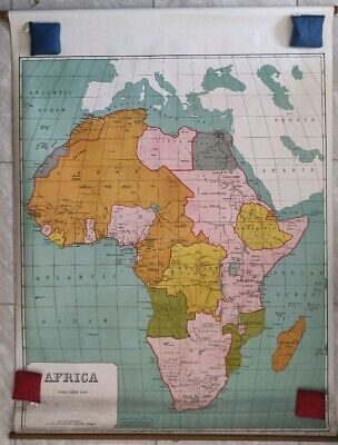 Antique Large Pull Down School Map Circa 1935 Africa Linen Backed