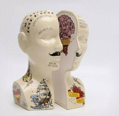 Phrenology Head Tattoo Bookends Porcelain Temerity Jones Unusual Gift New Boxed