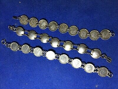 3x antique quality Solid silver three pence bracelets part of estate sale