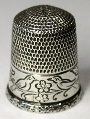 """Antique Simons Bros. Sterling Silver Thimble  PA German """"Pair Of Birds""""  C1920s"""