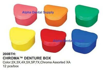 Plasdent Dental Chroma Denture Boxes Plastic Assorted Colors Box/12 #200BTH-XA