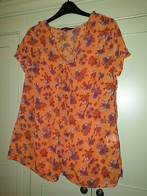 M/&S Classic Burnt Orange Floral Print Stretch Jersey Top 10-16 New ms-197h