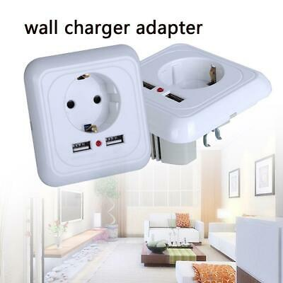 Dual USB Port  Electric Wall Charger Adapter EU Plug Socket-Outlet