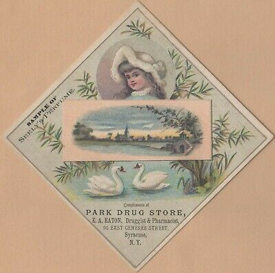 Victorian Trade Card-Seely Perfume-Detroit, MI-Syracuse, NY-Swans-Church Steeple