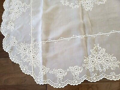 Vintage Fine Organza Sheer Tablecloth Oval ivory Embroidered Lace polyester 66""