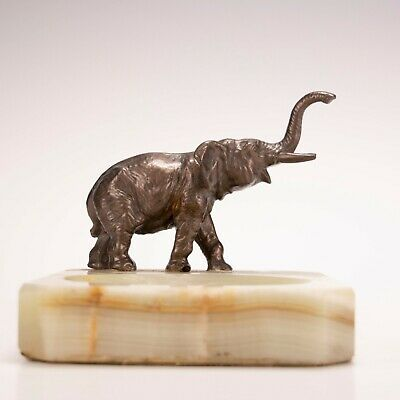 Vintage Art Deco Marble & Bronze Elephant Figurine Cigarette Cigar Ashtray