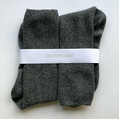 100% Pure Cashmere Derby /Mid Grey Socks Regular Mens / Large Womens Unisex Warm