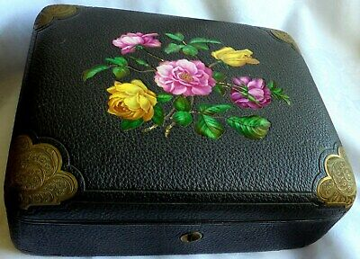 Beautiful Victorian Leather Bound Box - inset porcelain Flowers & Brass corners