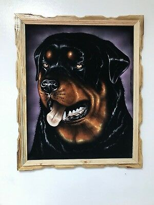 "ROTTWEILER  DOG  , Hand Painted , VELVET PAINTING , 18"" BY 22"" W , FRAME , DECOR"
