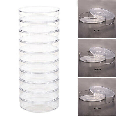 10X Sterile Petri Dishes w/Lids For Lab Plate Bacterial Yeast 35/55/60/70/100mm