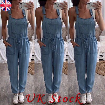 Women Full Length Denim Dungarees Overalls Ladies Casual Loose Jumpsuit Trousers