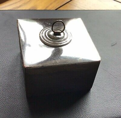 White Metal Writing slope inkwell / Reclaimed Antique Box Part