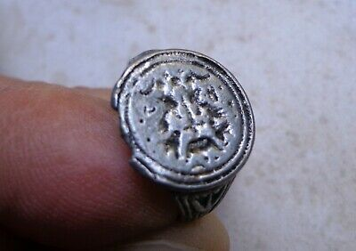 Medieval Silver Heraldic Signet Ring 11th-13th century AD.