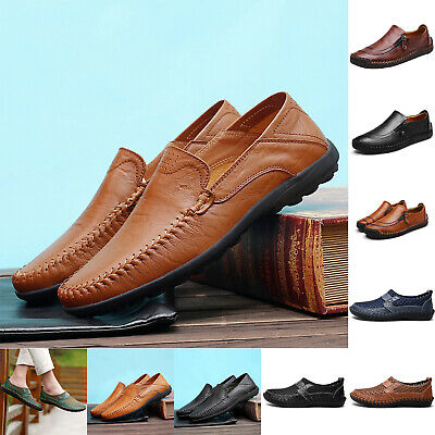 Men's Driving Shoes Loafers Microfiber Leather Moccasins Business Comfy Zip Shoe