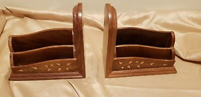 Pair of Bookends/Letter Rack Holders Brass  Inlaid