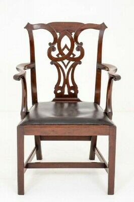 Pair Chippendale Arm Chairs - Antique Mahogany Circa 1880