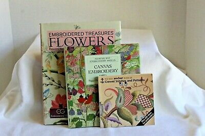 Embroidered Treasures Flowers, Canvas Embroidery, Anchor Crewel Stitching Books