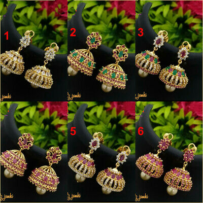 Traditional Bollywood Gold Plated Cz Design Jhumka Earrings Costume Jewellery
