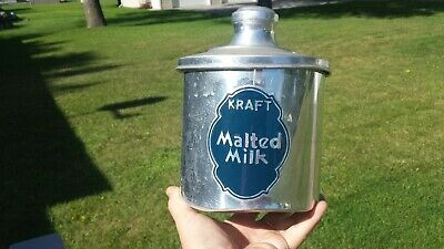Vintage c.1940's Soda Fountain Kraft Malted Milk Tin Aluminum Container With Lid