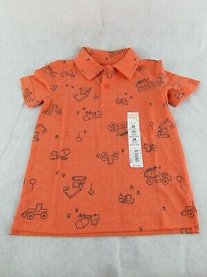 Jumping Beans Boys Orange Construction All Over Graphic Polo Size 24 Months