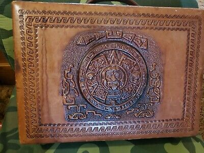 Vintage Hand tooled Camel Brown leather Briefcase