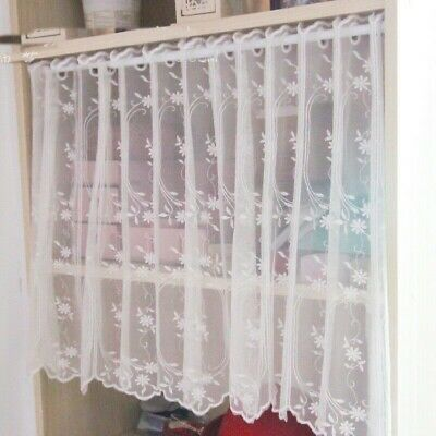 1X Mech Floral Curtain Panel Home Cafe Cabinet Decor Lace Trim Semi-sheer Modern