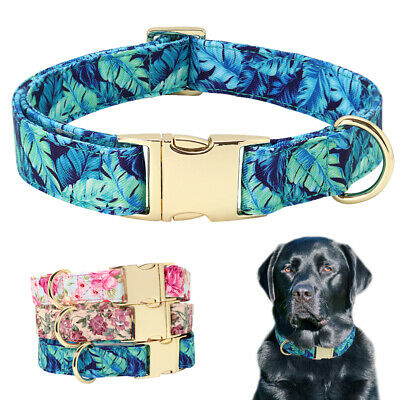 Luxury Floral Pet Dog Collars for Girl Dogs D-ring Gold Metal Buckle Heavy Duty