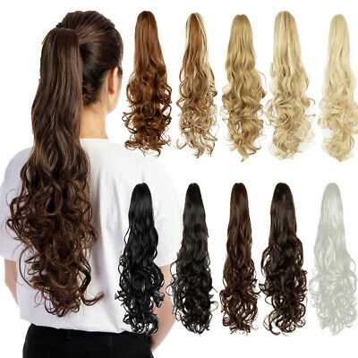 """24""""(170g) Women Long Curly Claw Ponytail Clip in Wavy Hair Extensions Hairpiece"""