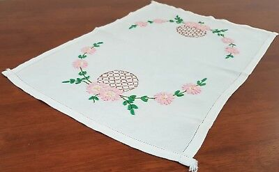 Vintage 50s Cream Linen PINK FLORAL Embroidered Oblong TABLE Centre RUNNER