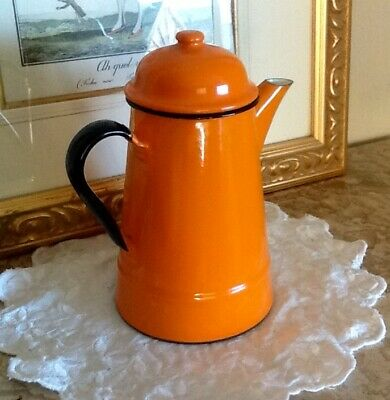 Large Vintage Enamel Country Style Coffee Pot  Made In Poland  Collectors Item