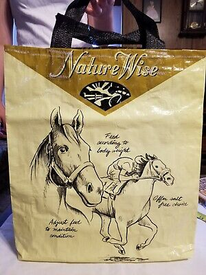 Race Horse Oats Grocery Market Shopping Tote Bag  Re-purposed Feed Sack